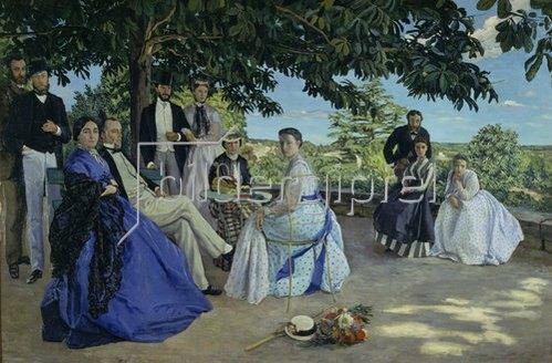 Frédéric Bazille: Familientreffen. Der Künstler mit seiner Familie auf der Terrasse in Méric. 1867
