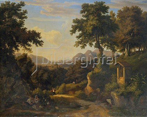 Jakob Christoph Miville: Italienische Landschaft mit Bildstock.