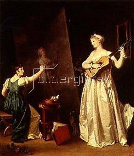Marguerite Gérard: Malerin beim Portraitieren einer Lautenspielerin. Um 1790.