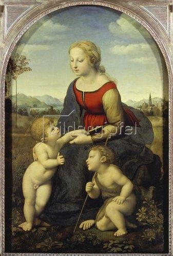Raffael (Raffaello Sanzio): Madonna mit Jesuskind und Johannesknaben (die schöne Gärtnerin). 1507.