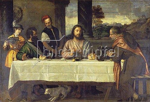 Tizian (Tiziano Vecellio): Das Mahl in Emmaus. Um 1535.