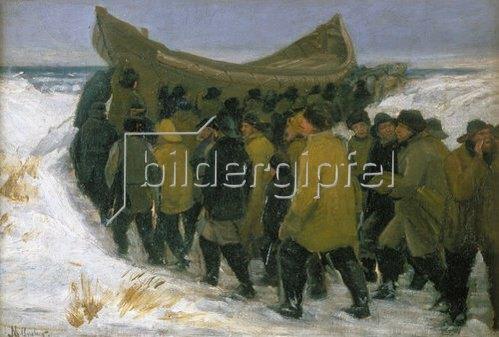 Michael Peter Ancher: Dänische Fischer bringen ihr Boot im Winter zu Wasser.