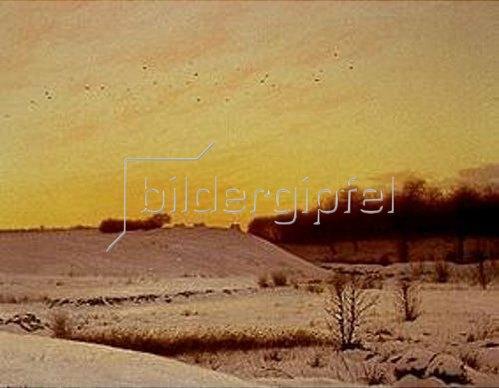 Adolf Larsen: Winterlandschaft am Abend.