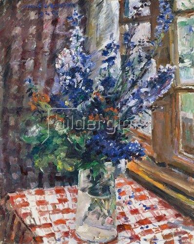 Lovis Corinth: Glasvase mit Rittersporn. 1924