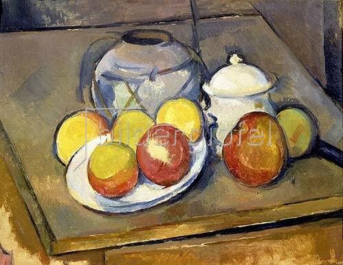 Paul Cézanne: Blumenvase, Äpfel und Zuckerdose.