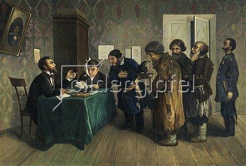 Nikolai Petrowitsch Sagorskij: In einer russischen Amtsstube. 1880.