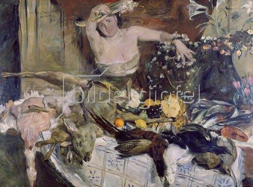 Lovis Corinth: Großes Stilleben mit Figur, Geburtstags- bild. 1911