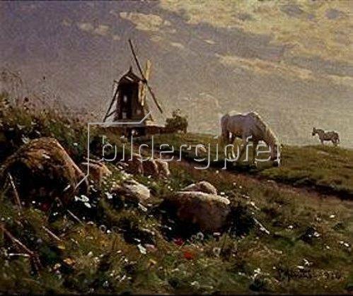 Peder Moensted: Grasende Pferde auf einer Sommerwiese. 1916.