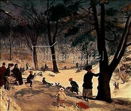 William James Glackens: Im Winter im Central-Park in New York.