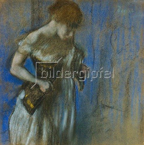 Edgar Degas: Frau beim Schnüren ihres Korsetts.