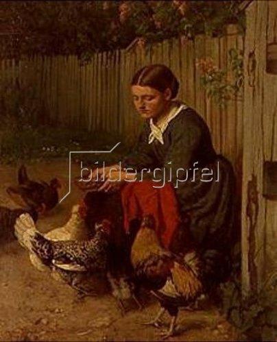 Hans Thoma: Hühnerfütterndes Mädchen. 1870