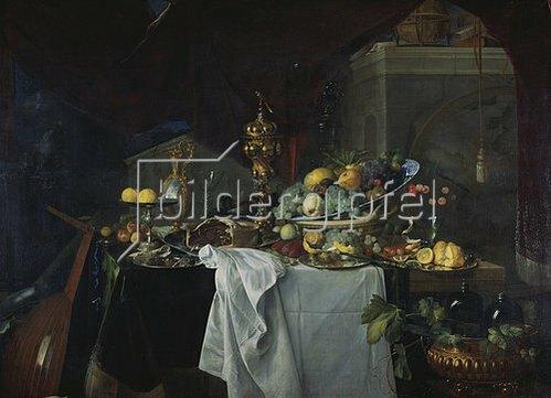 Jan Davidsz de Heem: Prächtiges Stilleben mit Goldpokal und Früchten.
