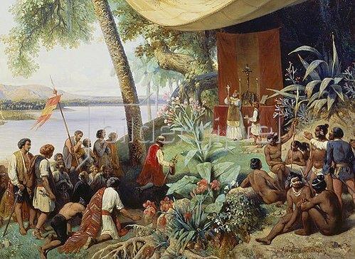 Pharamond Blanchard: Einwanderer feiern nach dem Erreichen Amerikas ihre erste Messe (Detail).1849.