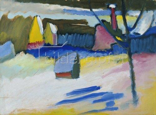 Wassily Kandinsky: Murnau, Landschaft mit kahlem Baum, Spätherbst 1909.