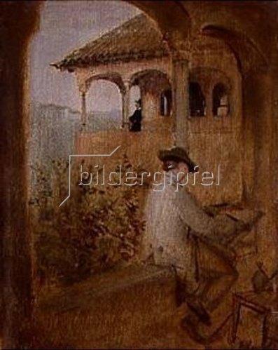 Franz von Lenbach: Der Tocador de la Reina auf der Alhambra in Granada. 1868