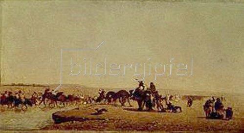 Eugène Fromentin: Eine Karawane bei der Durchquerung des Nils.