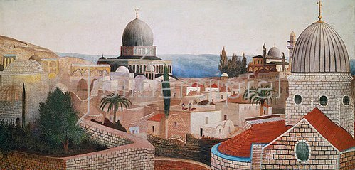Tivadar Csontváry-Kosztka: Blick vom Tempelplatz in Jerusalem auf das Tote Meer. 1905.