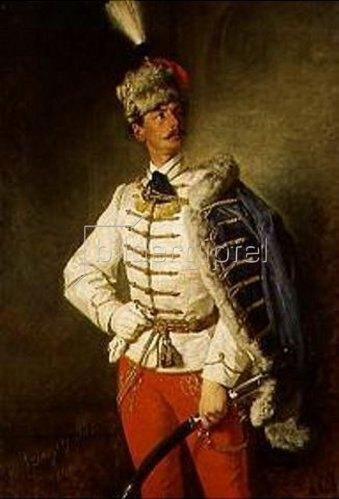 Pál Szinyei-Merse: Bildnis von László in Husarenuniform.