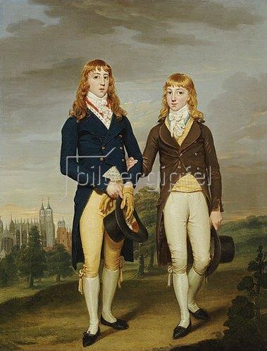 Francis Alleyne: Bildnis zweier Eton-Schüler in Schulkleidung vor dem Eton-College.
