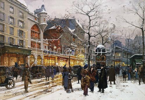 Eugene Galien-Laloue: Wintermorgen vor Moulin-Rouge in Paris.