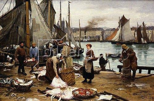 Victor Gabriel Gilbert: Fischer beim Entladen des Fanges. 1881.