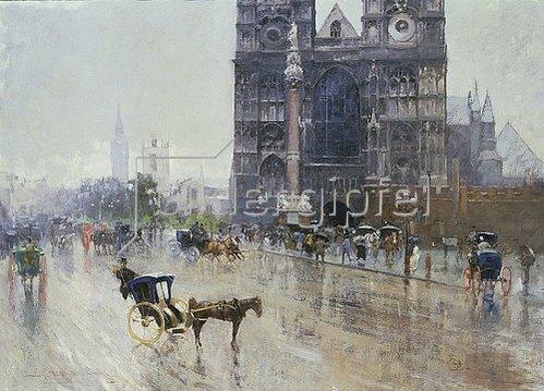 Paolo Sala: Regnerischer Tag vor Westminster, London.