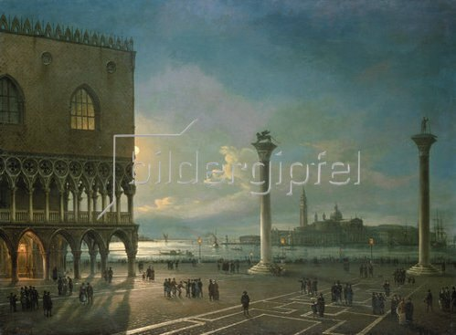 Giovanni Grubacs: Abendstimmung auf der Piazzetta mit Blick auf San Giorgio Maggiore.