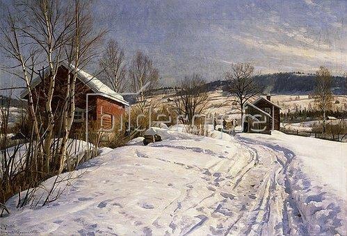 Peder Moensted: Winterlandschaft bei Lillehammer. 1922