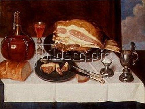 Johann Michael Hambach: Stilleben mit Schinken.