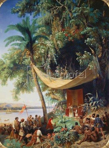 Pharamond Blanchard: Einwanderer feiern nach dem Erreichen Amerikas ihre erste Messe. 1849.