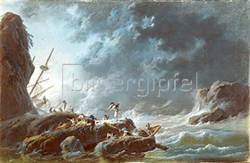 Jean-Baptiste Pillement: Seesturm mit Schiffswrack.