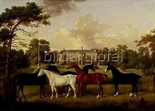 Frederick W. zugeschr Keyl: Fünf Rennpferde vor einem englischen Landhaus.