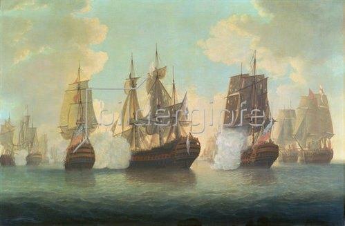 William Elliott: Seeschlacht zwischen englischen und französischen Schiffen.