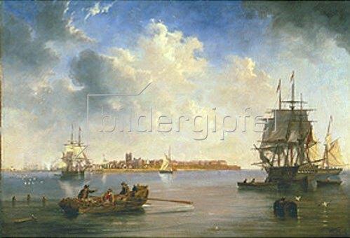 John Wilson Carmichael: Hafen von Hartlepool mit Schiffen.