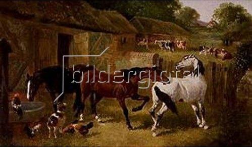 John Frederick Herring d.J.: Bauernhof mit Pferden und anderen Tieren