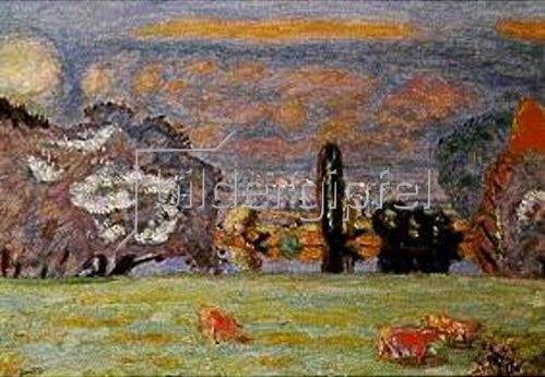 Pierre Bonnard: Viehweide mit roten Kühen bei Vernon.