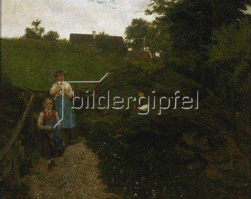 Johann Sperl: Von der Feldarbeit heimkehrende Bäuerin mit Kind.
