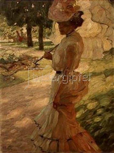 Leo Putz: Dame mit Sonnenschirm beim Spaziergang.