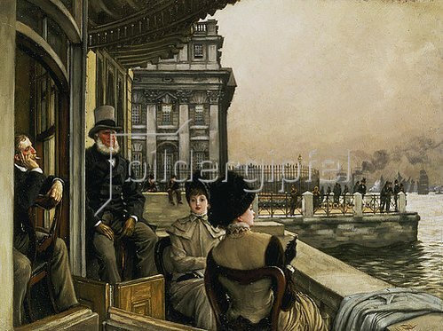 James Jacques Tissot: Auf der Terrasse der Trafalgar-Taverne in Greenwich.