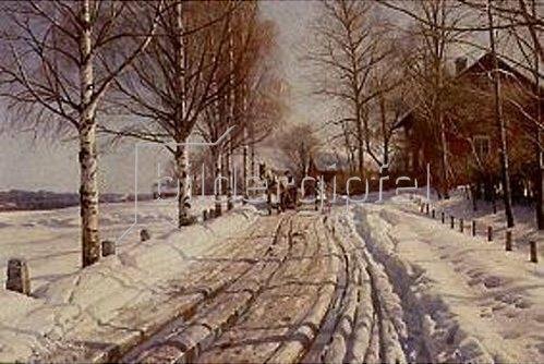 Peder Moensted: Winterliche Landstrasse in Leksand (Dalarne). 1927.