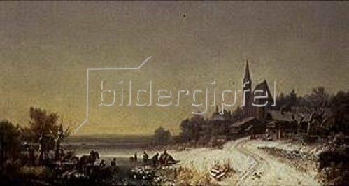 Heinrich Bürkel: Winterliches Dorf mit Kirche an einem See.