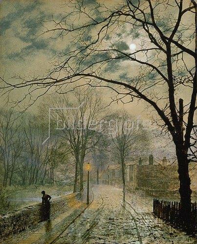 John Atkinson Grimshaw: Herbstliche Vorstadtstrasse im Mondlicht auf der Insel Wight. 1878