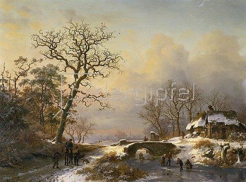 Frederik Marianus Kruseman: Winterlandschaft, Weg mit Reiter und Schlittschuhläufer auf einem Fluss.