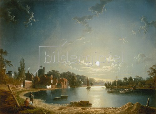 Henry Pether: Flusslandschaft bei Mondschein.