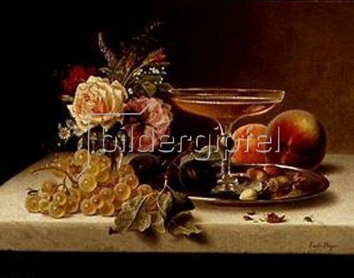 Emilie Preyer: Früchtestilleben mit Blumen und Sektschale.