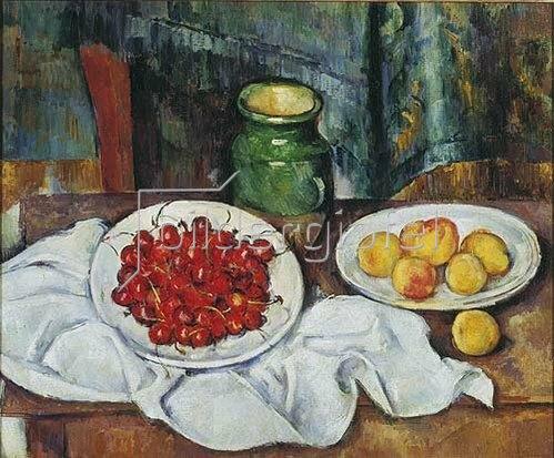 Paul Cézanne: Stilleben mit Kirschen und Pfirsichen. 1883/1887.