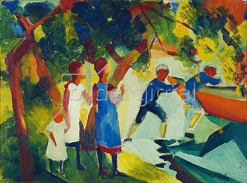 August Macke: Kinder am Wasser. 1914.