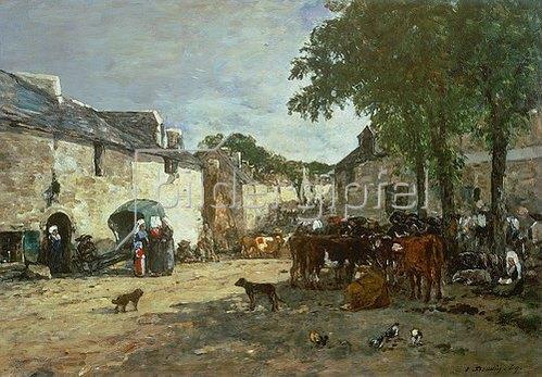 Eugène Boudin: Auf dem Viehmarkt in Daoulas. 1869