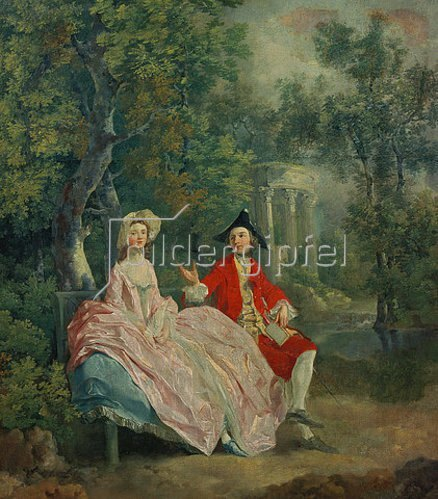 Thomas Gainsborough: Plauderei im Park (Der Maler mit seiner Frau Margaret Burr?). 1746.