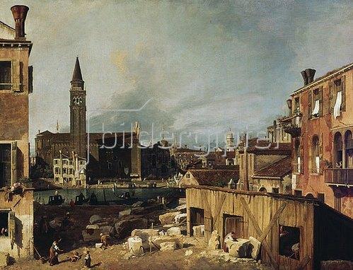 Canaletto (Giovanni Antonio Canal): Der Hof des Steinmetzen. Um 1726-30